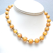 Yellow Venetian Glass Beaded Necklace