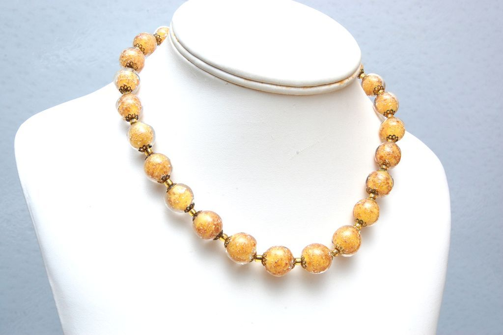 Yellow Venetian Glass Beaded Necklace