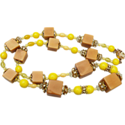 Alice Caviness Tagua Nut and Rhinestone Necklace