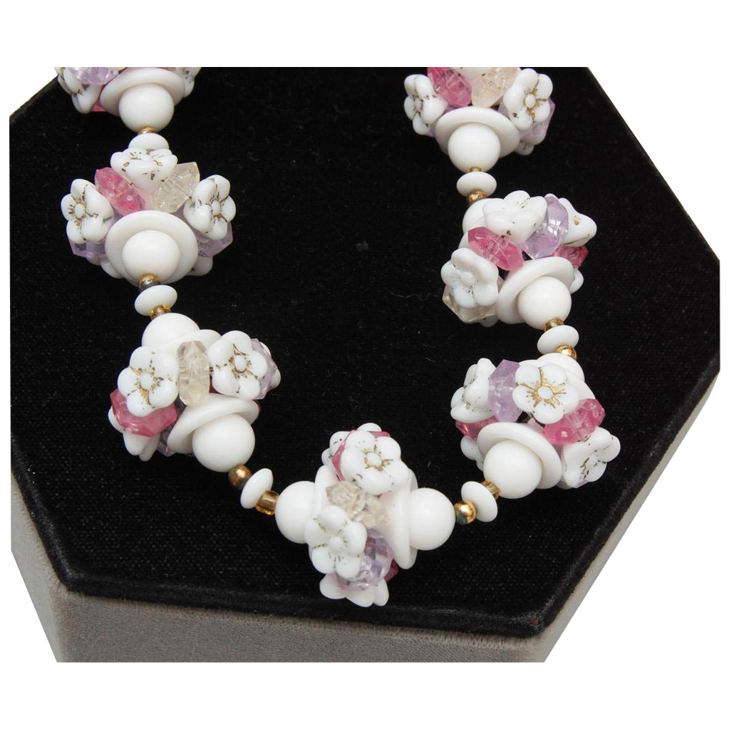 White Milk Glass Flower and Pastel Necklace