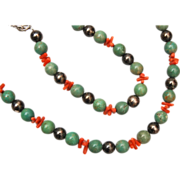 Green Turquoise, Sterling Silver and Branch Coral Necklace