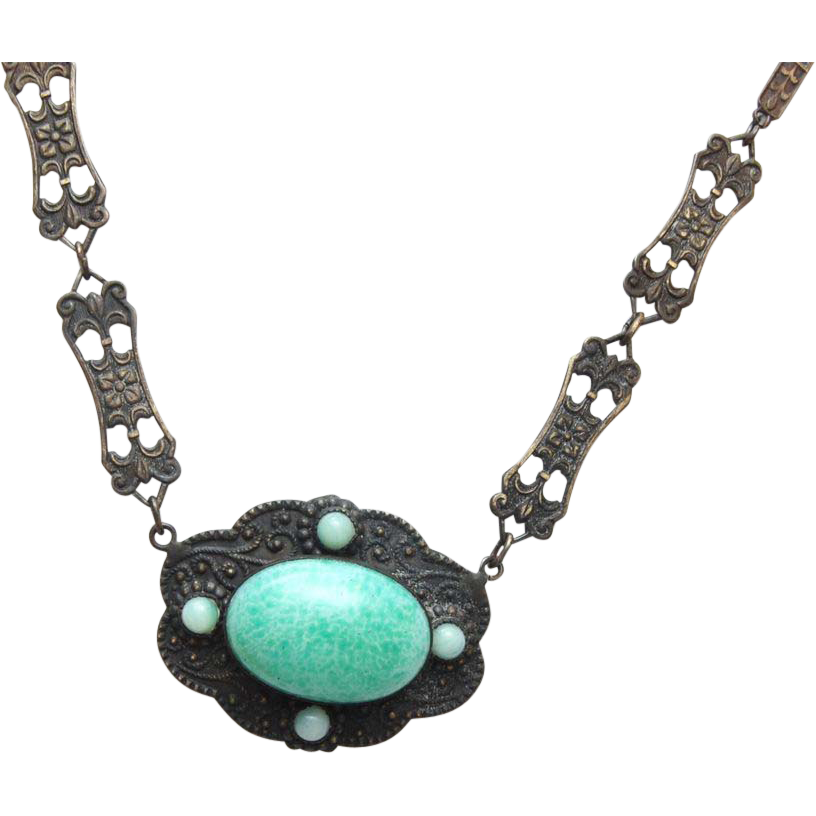 Green Peking Glass Pendant Necklace