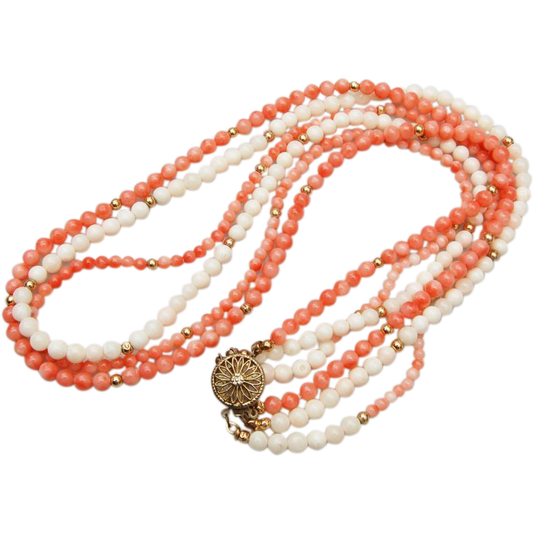 3 Strand Angel Skin Coral and Sterling Vermeil Beaded Necklace