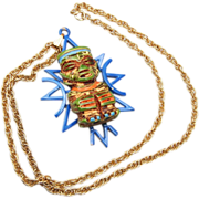 ART Enameled Aztec Designed Necklace