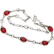 Sterling Red Bezel Set Crystal Necklace
