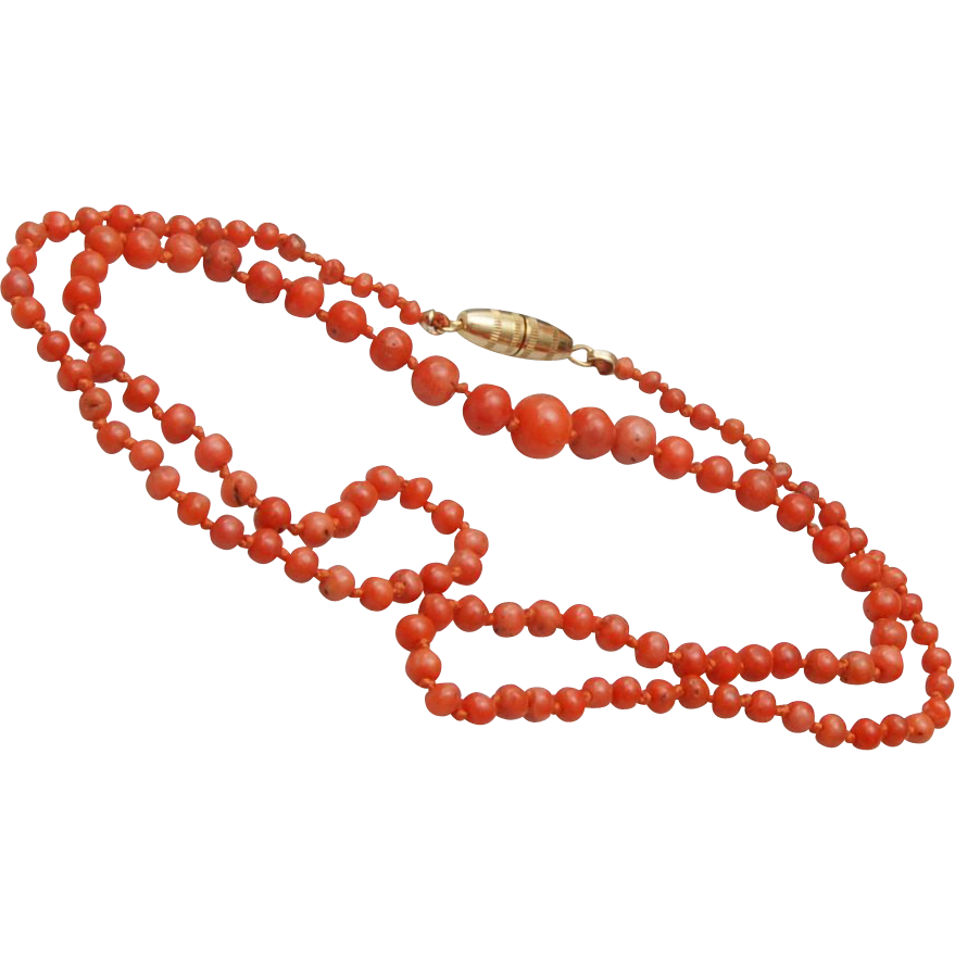 "22"" Coral Necklace – Tied In Between"