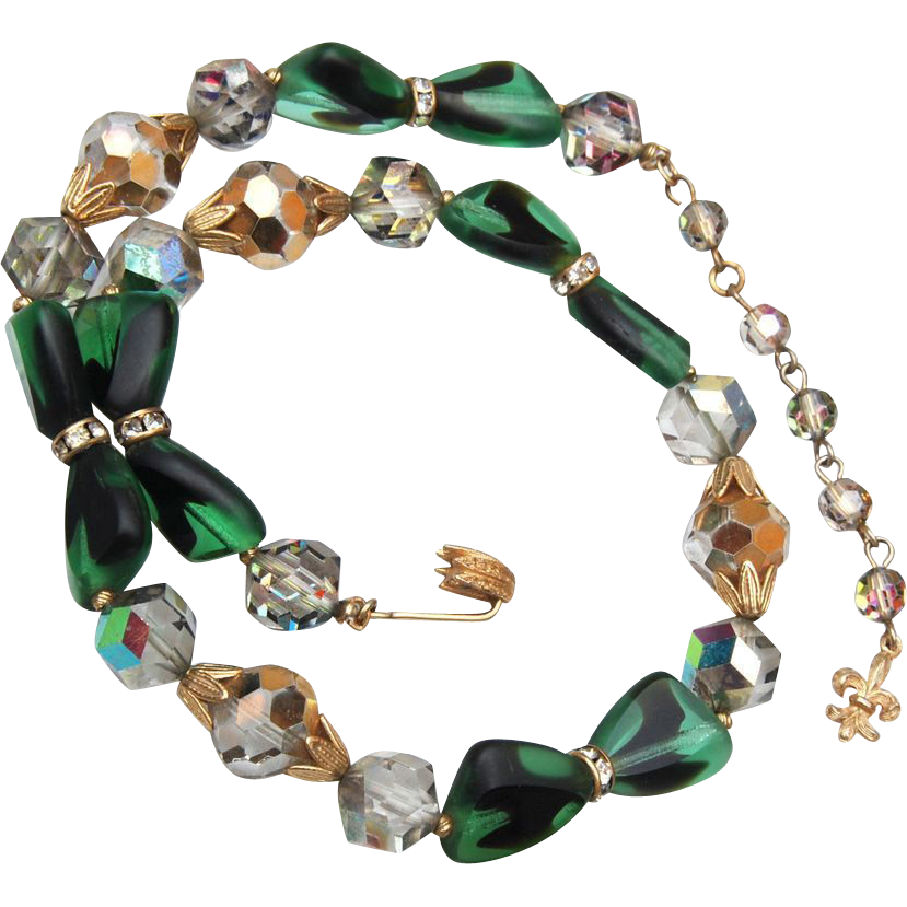 Vendome Green Art Glass and Crystal Necklace
