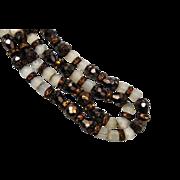 Hobe' 2-Strand Brown Glass and Rhinestone Necklace