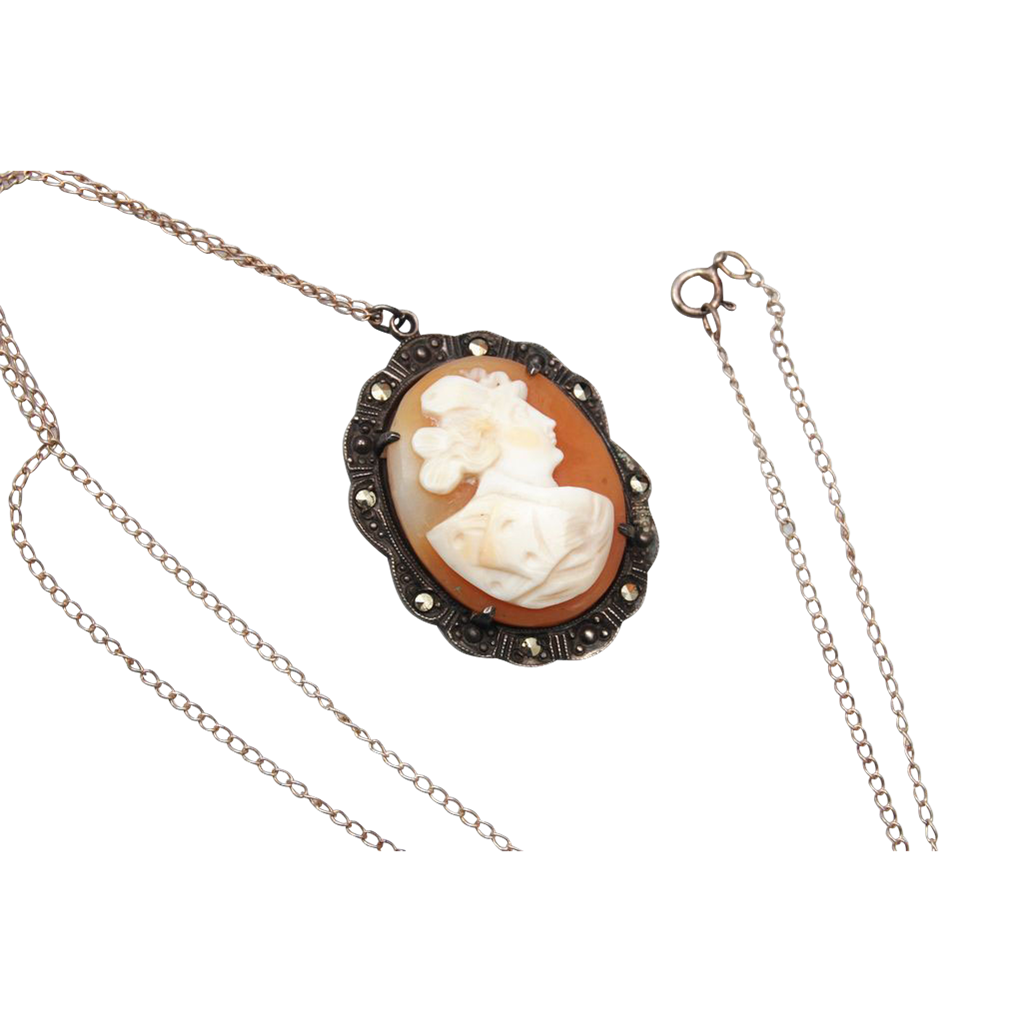 Sterling and Marcasite Cameo Necklace