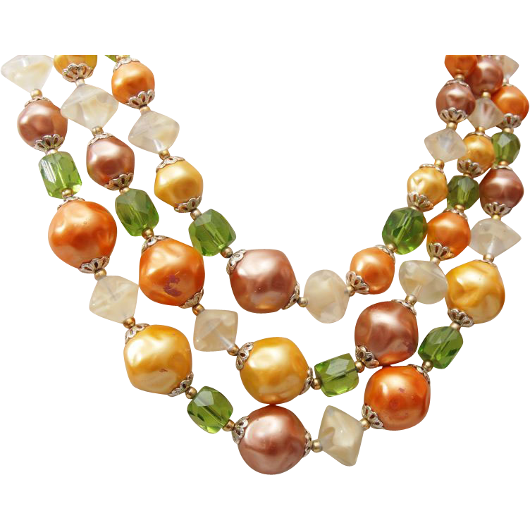 3 Strand Faux Pearl and Givre' Glass Beaded Necklace