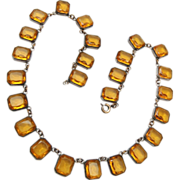 Open Backed Bezel Set Topaz Chiclets Rhinestone Necklace