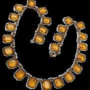 Open Backed Bezel Set Topaz Chiclets Rhinestone Necklace