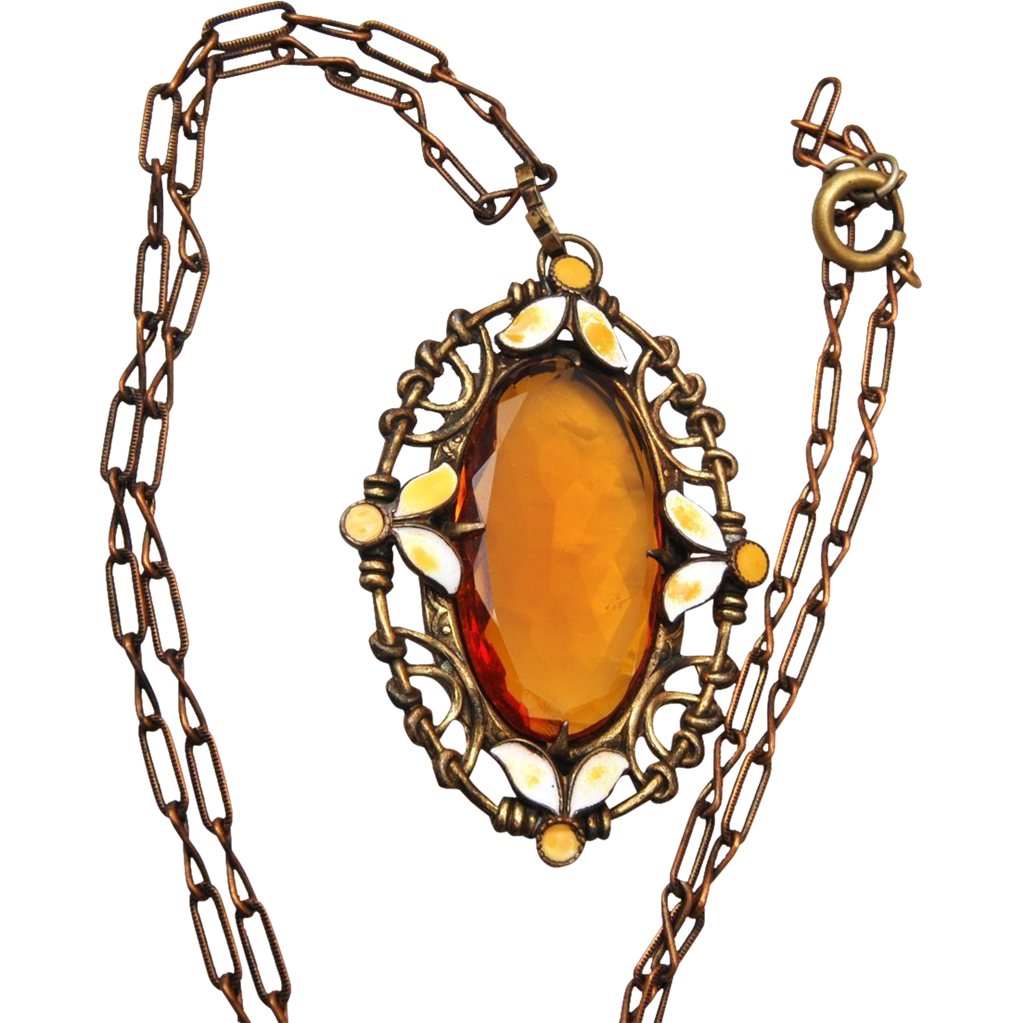 Enameled Brass and Topaz Crystal Necklace