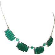 Art Deco Green Molded Step Glass Necklace