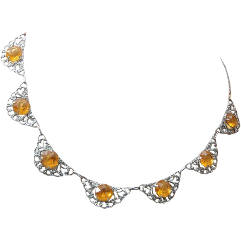 Aluminum and Topaz Crystal Necklace