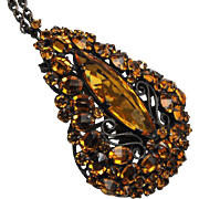 Schreiner Upside-Down Topaz Rhinestone Necklace