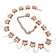 Renoir White Enameled and Copper Necklace