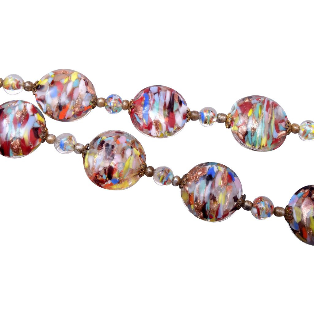 Gorgeous Multi Colored Venetian Glass Necklace