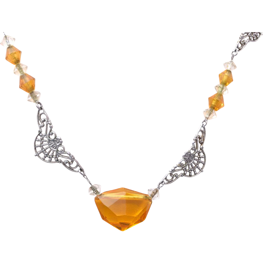Topaz Crystal and Aluminum Filigree and Paper Clip Chain Necklace