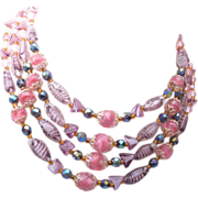 Germany 4 Strand Art Givre' Glass Beaded Necklace