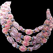 Germany 4 Strand Art Givre' Glass Beaded Necklace