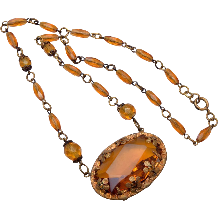 Czechoslovakia Topaz Crystal Necklace