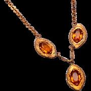 Topaz Rhinestone Drop Necklace