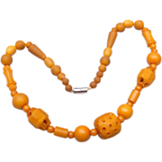 Carved Butterscotch Plastic Beaded Necklace