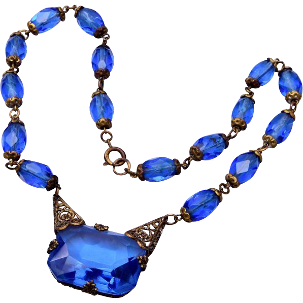 Blue Czechoslovokian Crystal Necklace