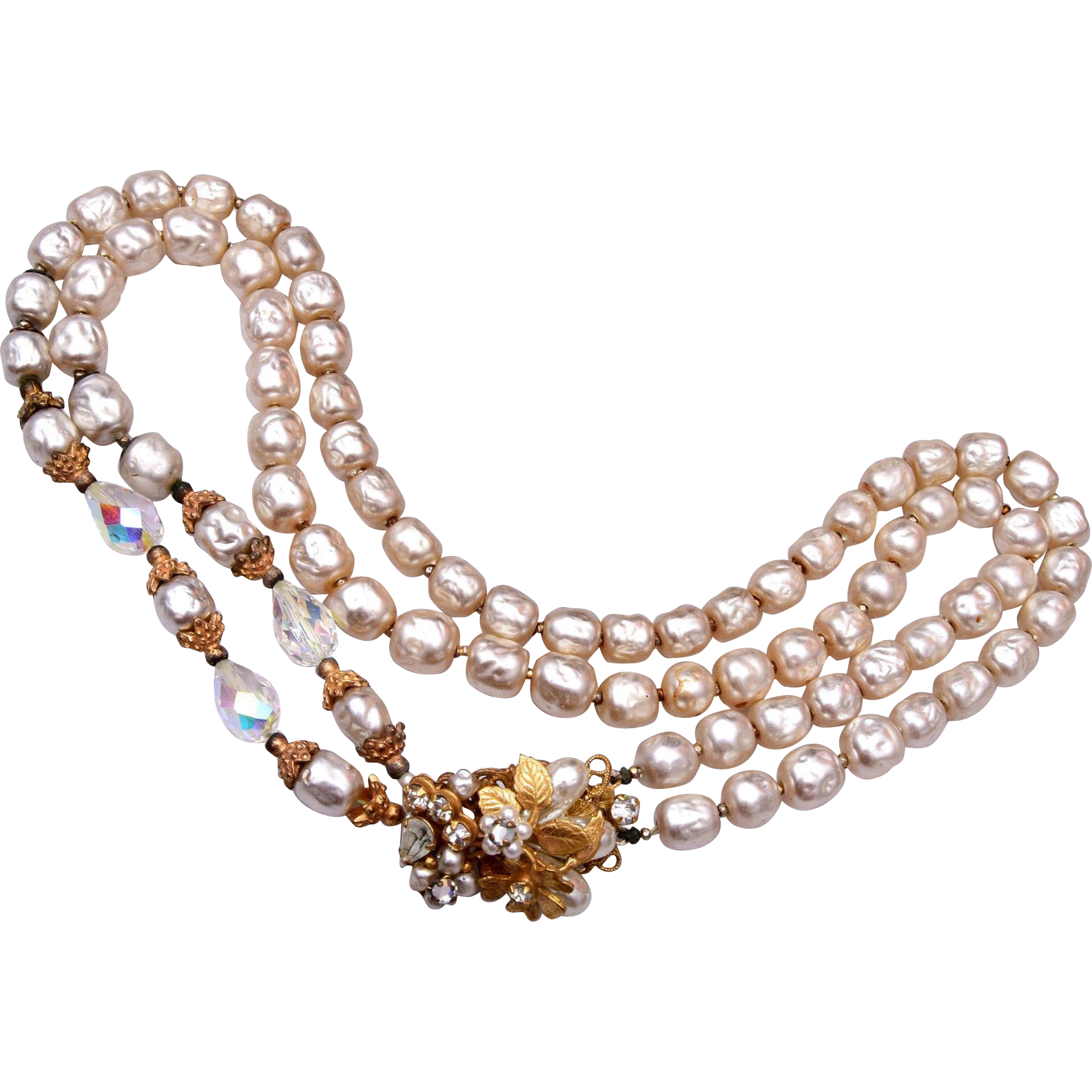 Original by Robert 2 Strand Faux Pearl, Crystal and Rhinestone Necklace