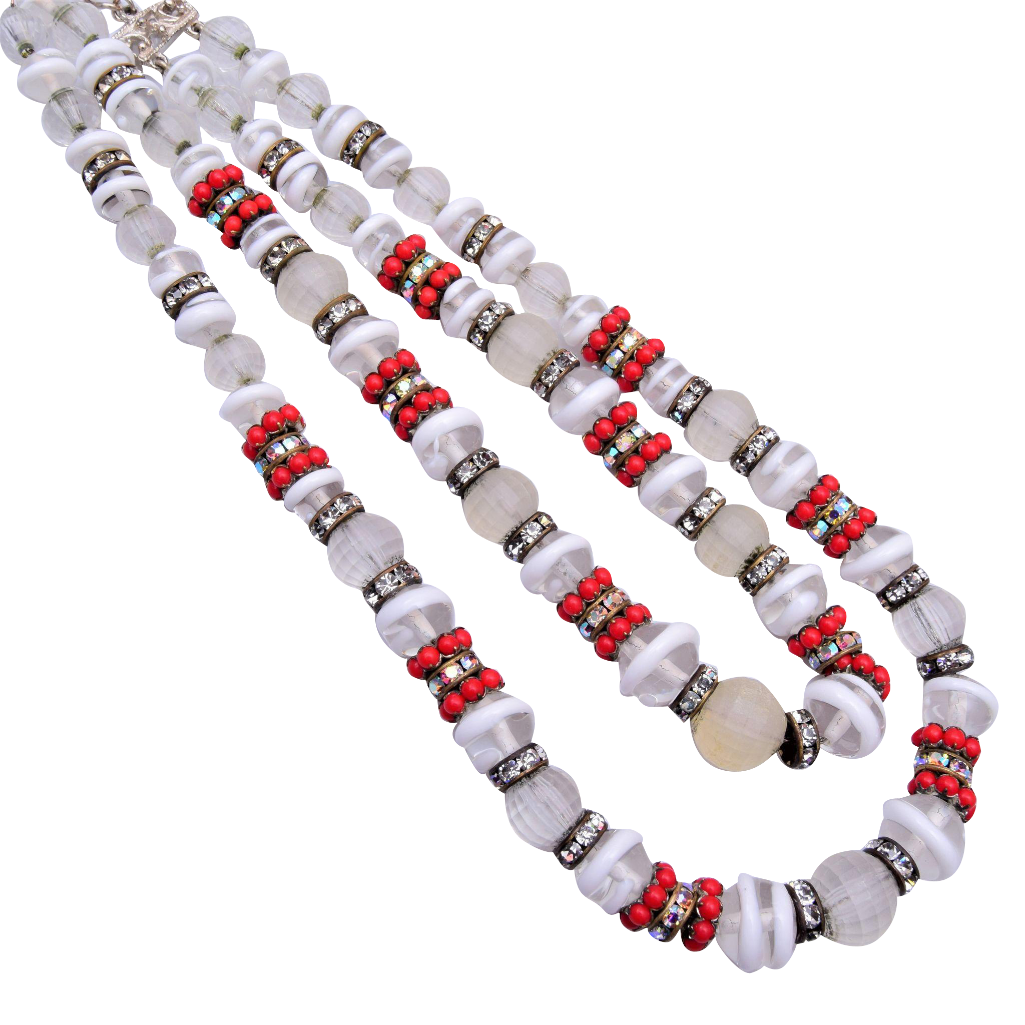 Hobe' White Art Glass and Red Stone 2-Strand Necklace