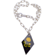 Yellow Rose Reverse Carved Lucite Necklace
