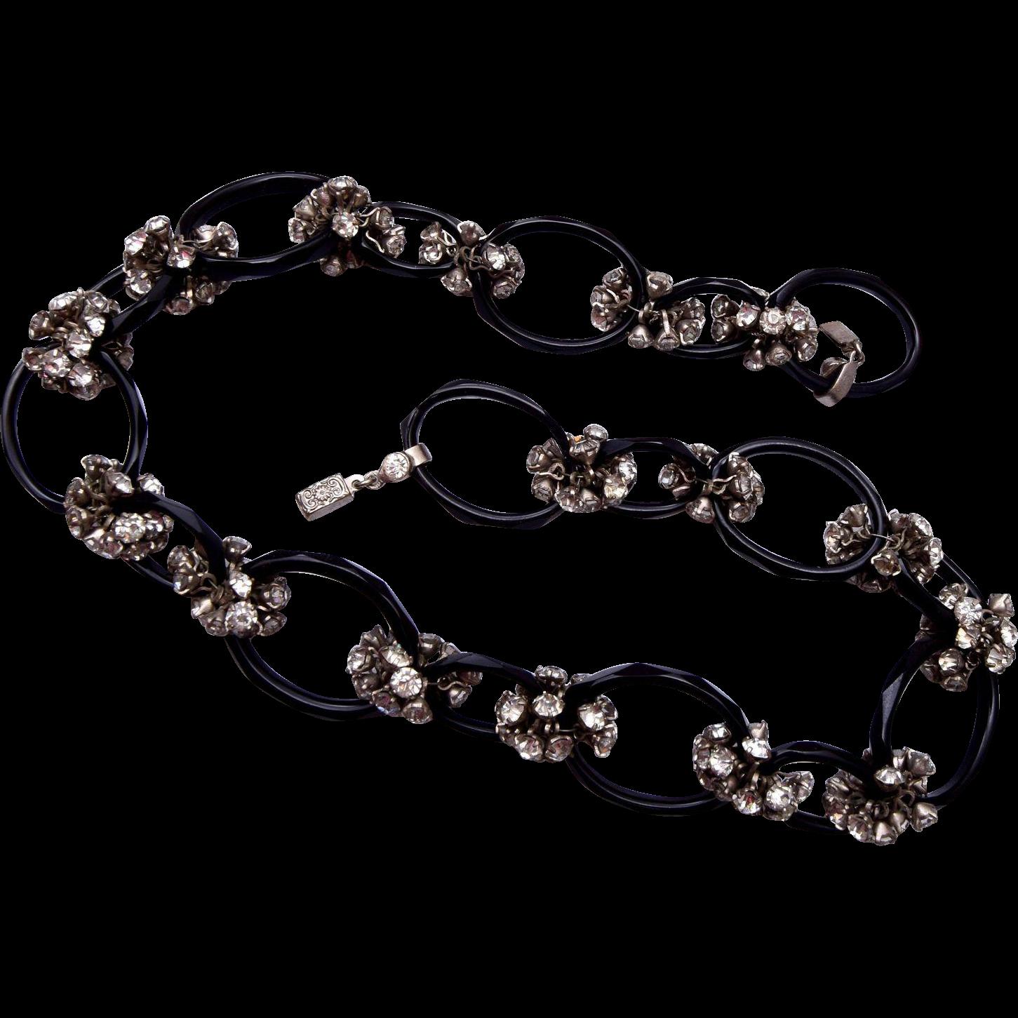 Czechoslovakian Black Glass and Rhinestone Necklace