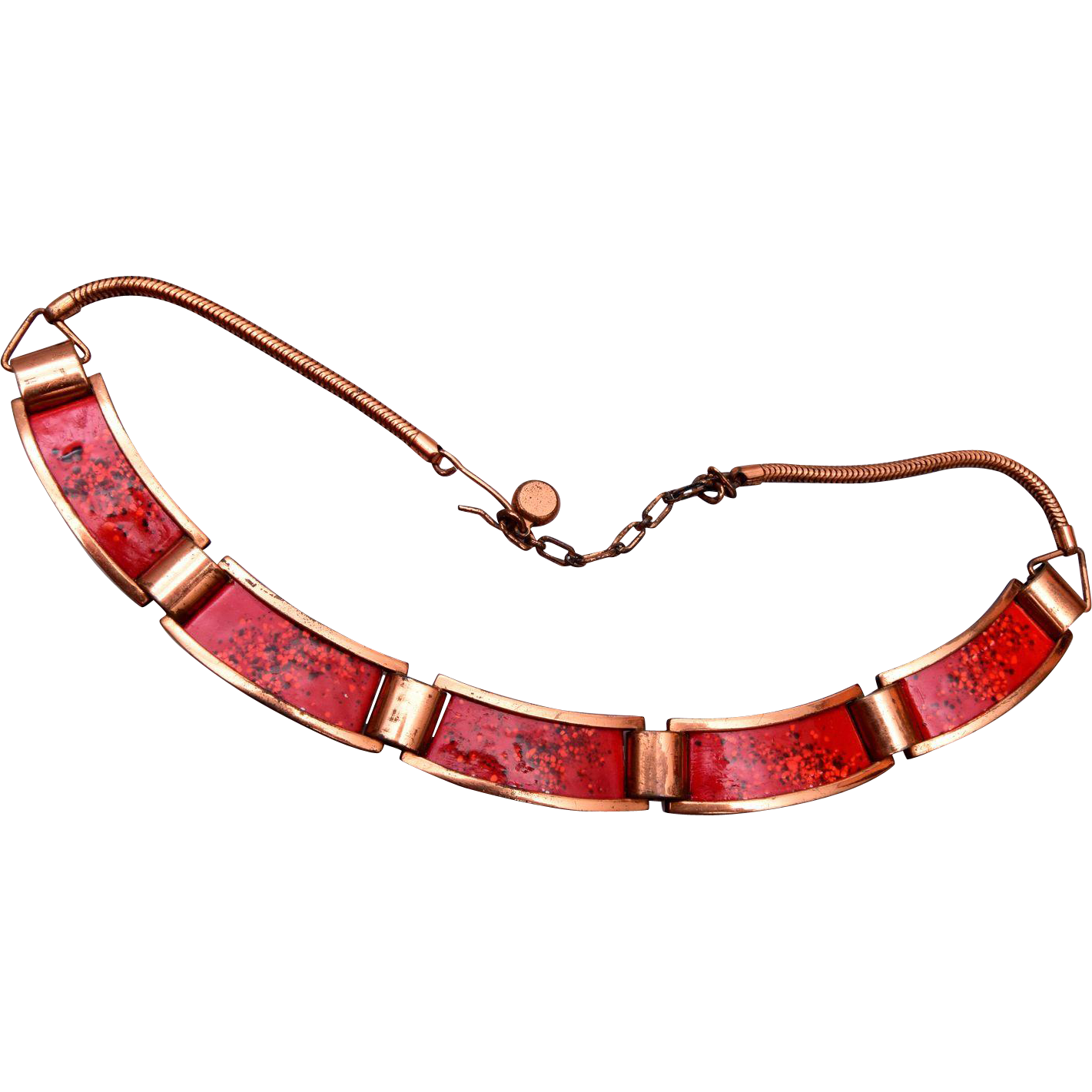Rebajes Red Enameled and Copper Necklace
