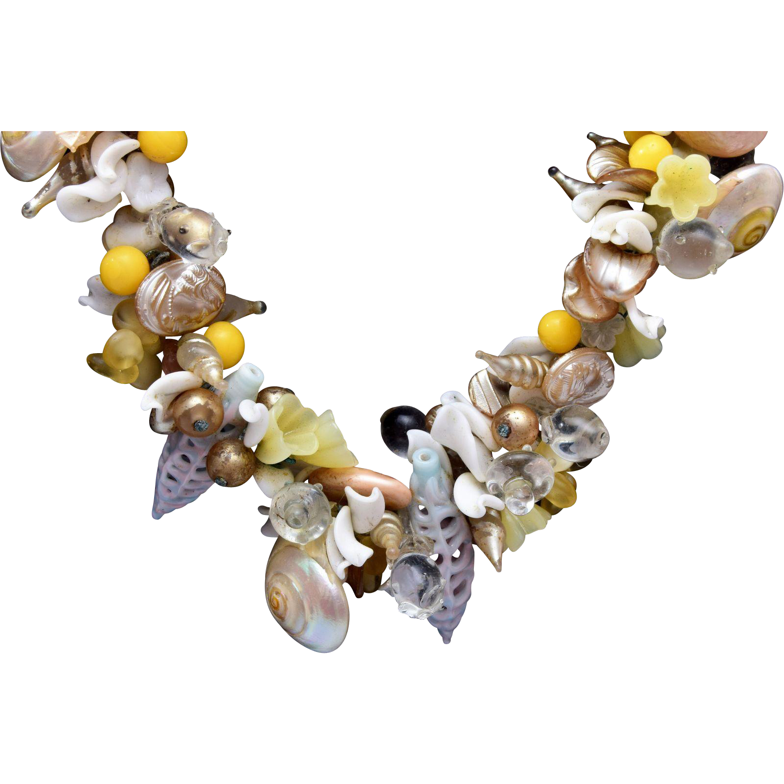 Glass, Shell and Faux Pearl Necklace