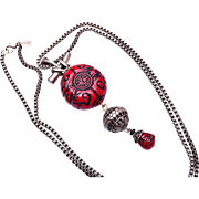 Chico's Asian Style Red Lucite Necklace - Beautiful Chain