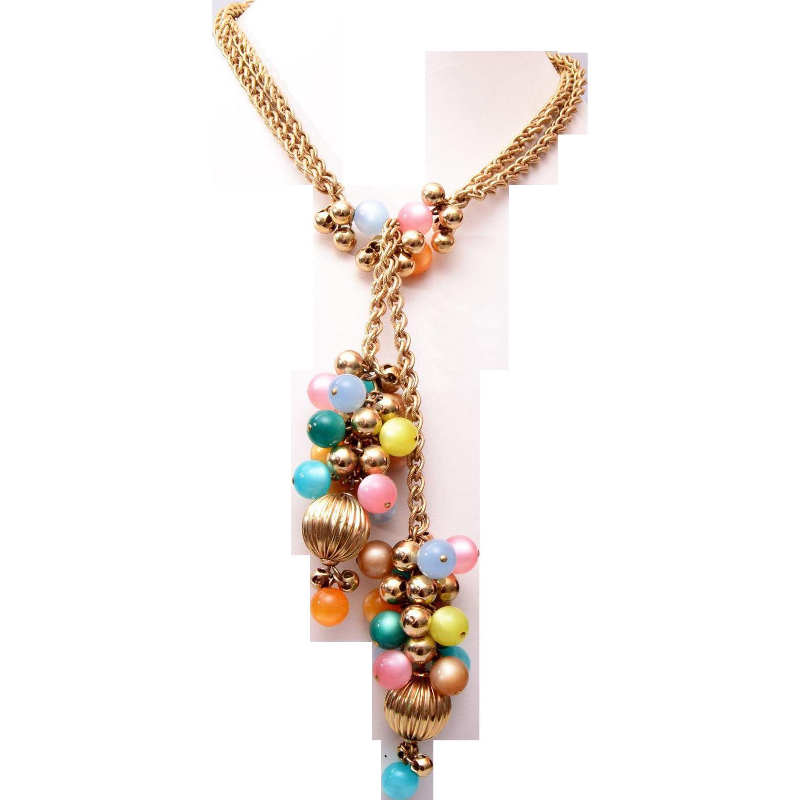 Napier Lucite Pastel Lariat Style Necklace