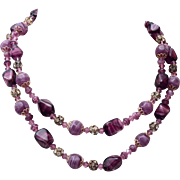 Purple Art Glass, and Rhinestone 2 Strand Necklace