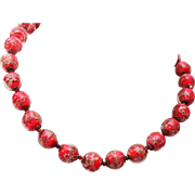 Red Venetian Glass Beaded Necklace