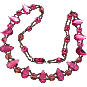 Czechoslovakia Pink Rhinestone Necklace