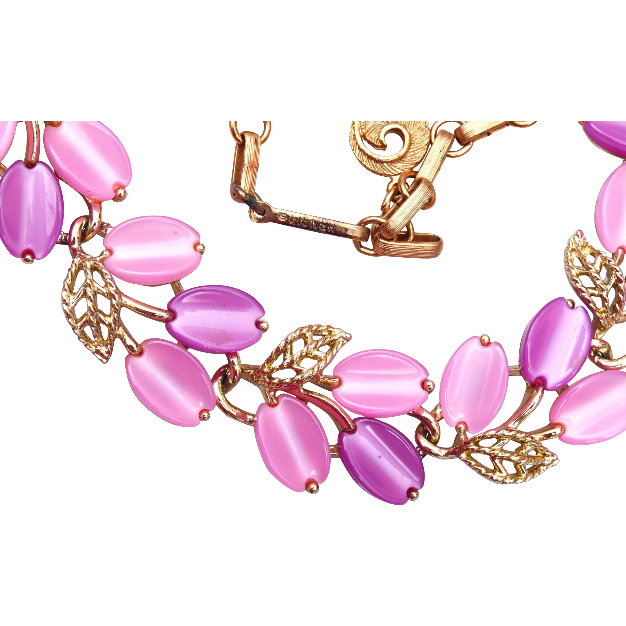 Pink and Purple Lisner Thermoset Necklace