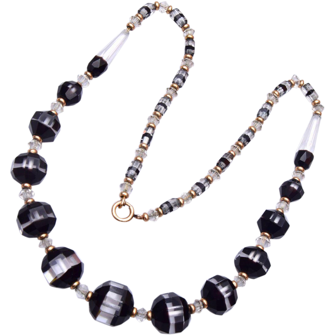 Gorgeous Givre' Black and Clear Glass Beaded Necklace
