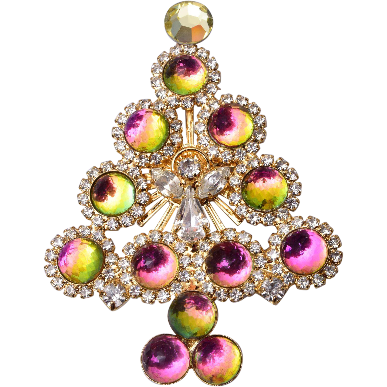 Beautiful colorful crystal christmas tree brooch with