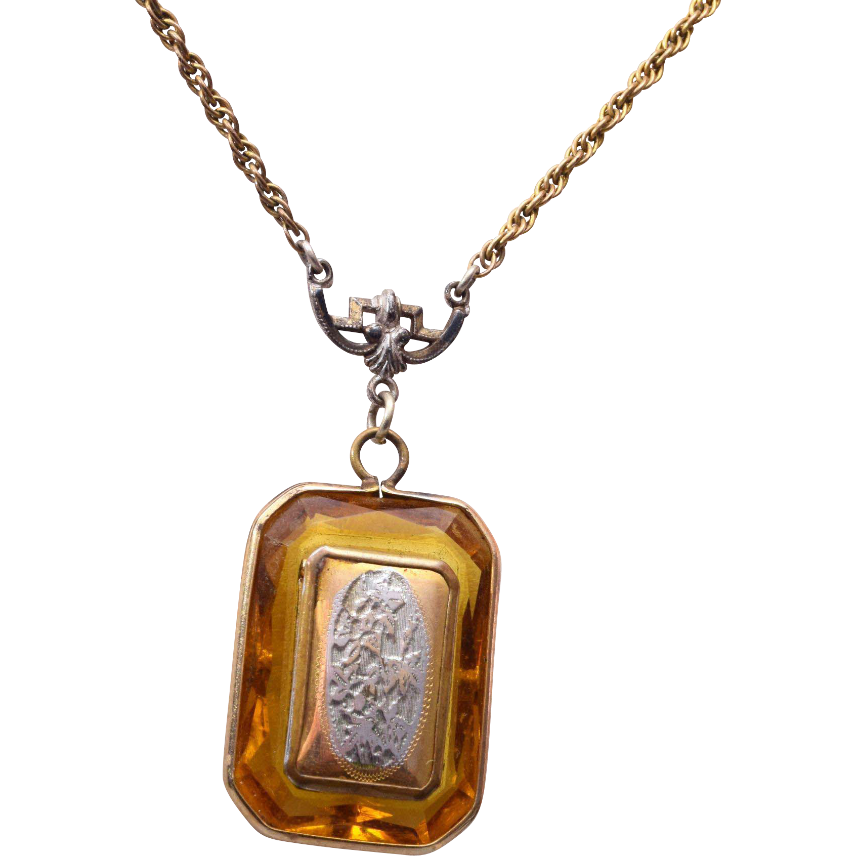Gold Filled Locket in Topaz Faceted Crystal