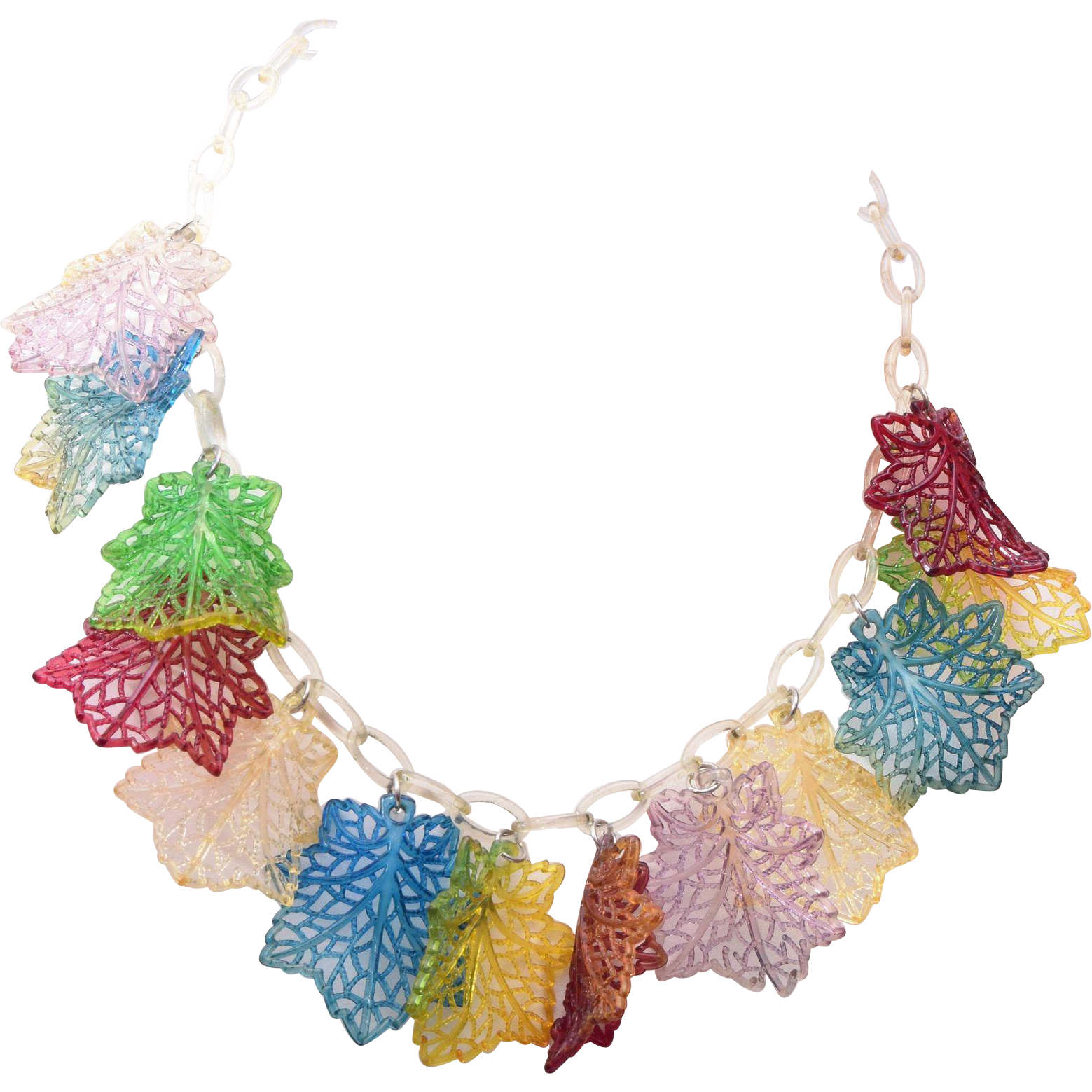 Colorful Curled Leaf Lucite Necklace