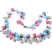 Beautiful Pink, Blue and White Glass Necklace