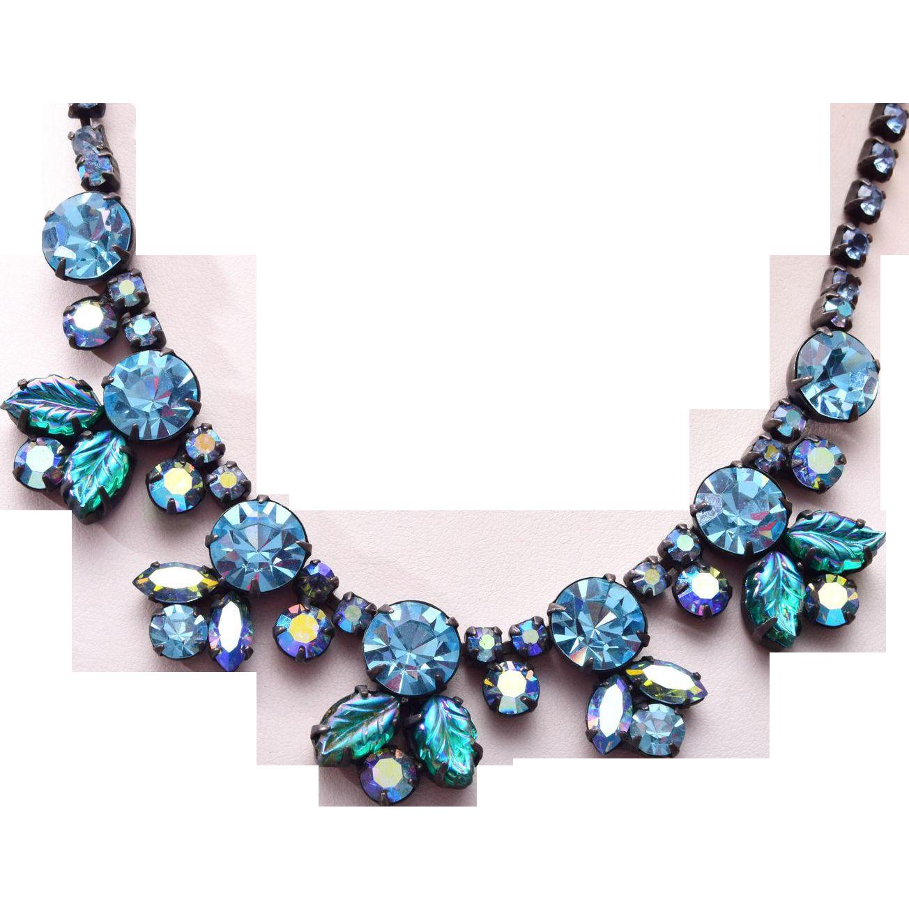 Regency Molded Leaf Blue Rhinestone Necklace