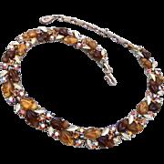 Lisner Brown Molded Plastic Leaf Necklace