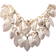 White Celluloid Double Strand Strawberry and Leaf Necklace