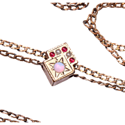 Opal, Ruby and Pearl Antique Gold Filled Slide Necklace